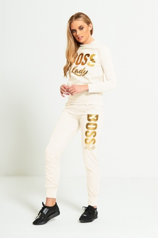 Cream Boss Lady Customized Tracksuit