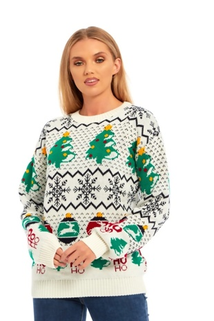 Cream Christmas Tree Knitted Jumper