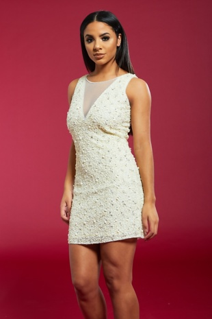 Cream Premium Sequinned Mini Dress