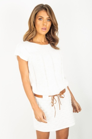 Cream Rib Knit Belted Jumper Dress