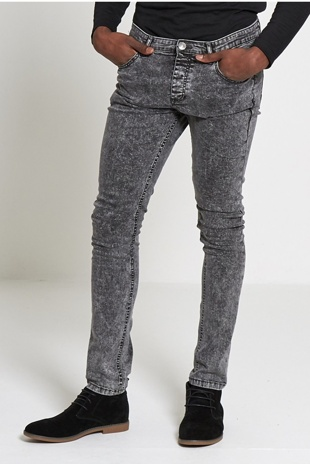 Mens Charcoal Acid Wash Skinny Jeans