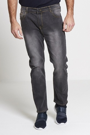 Mens Faded Grey Wide Leg Baggy Jeans
