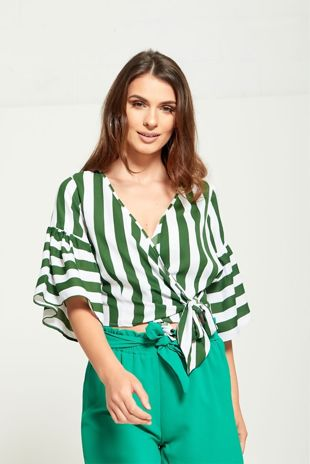 white and green striped blouse