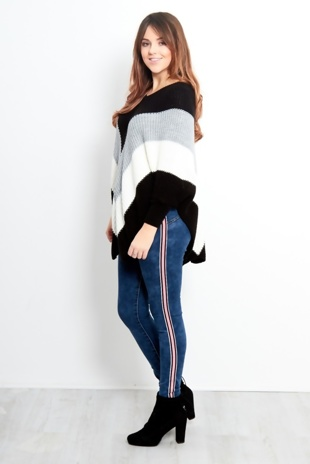 Dark Blue Washed Out Stripe Skinny Jeans