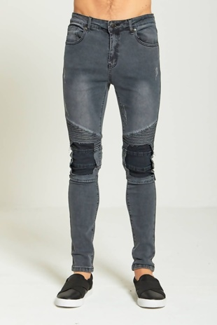 Dark Grey Super Skinny Ripped Biker Jeans