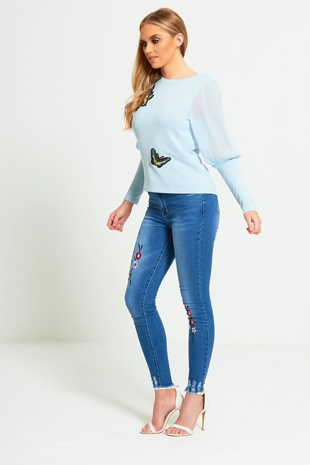 Denim Floral Embroidered Denim Skinny Jeans