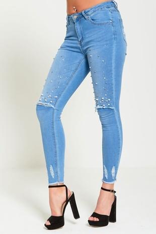 Denim Frayed Hem Ripped Knee Pearl Detail Skinny Jeans