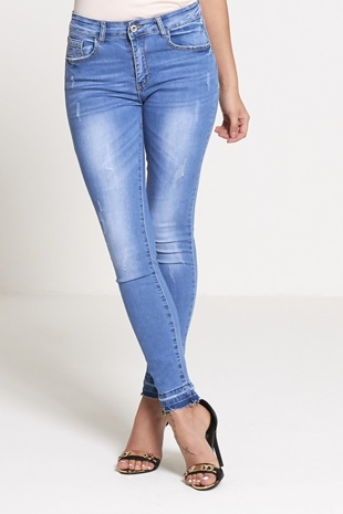 Denim Mid Rise Frayed Hem Faded Skinny Jeans