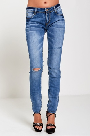 Denim Ripped Detail Skinny Jeans