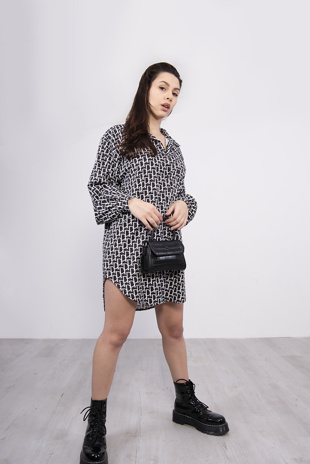 Black Printed Slogan Shirt Dress