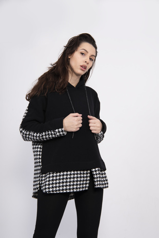 Black Fleece Hoodie With Dogtooth Detail