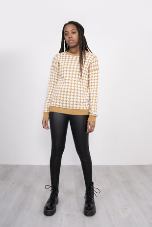 Mustard Dogtooth Knitted Jumper