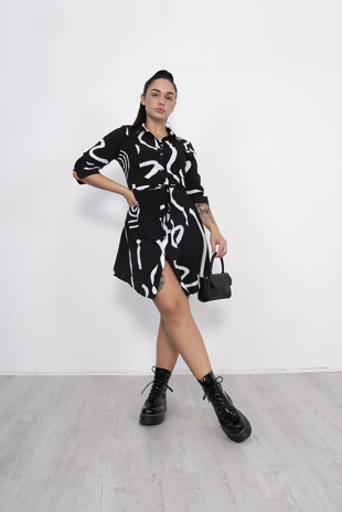 Black Swirl Print Tie Detail Shirt Dress