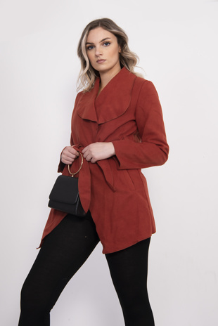 Rust Mid Waterfall Belted Jacket