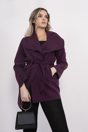Purple Mid Waterfall Belted Jacket