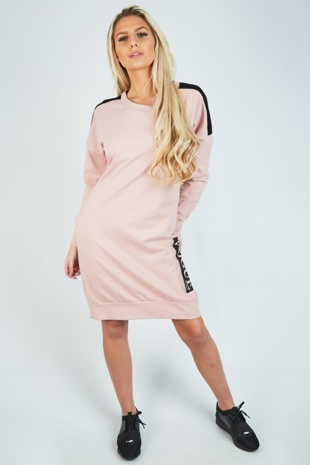 Dusty Pink Contrast Stripe Vogue Print Sweat Dress