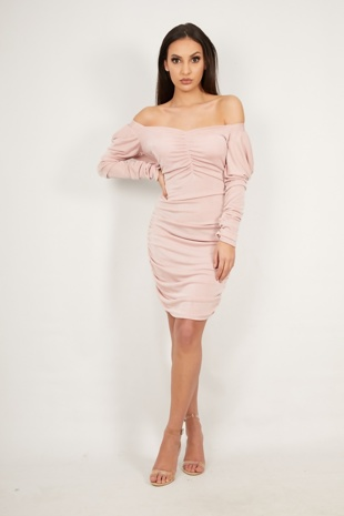 Dusty Pink Extreme Ruched Detail Bodycon Dress