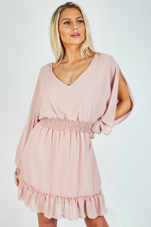 Dusty Pink Frill Slit Sleeves Dress