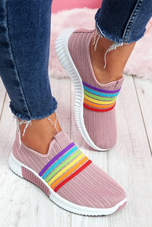 Dusty Pink Rainbow Slip On Trainers