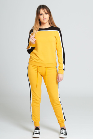 Yellow Stripe Tracksuit Set