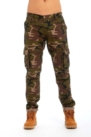Mens Camo Cargo Denim Jeans