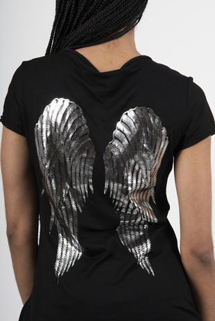 Black Angel Wing Sequin Back Top