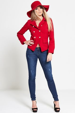 Red Military Style Fitted Blazer Jacket