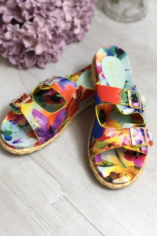 Floral Print Buckle Strap Straw Sole Sandals
