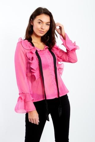 Fuchsia Sheer Ruffle Sleeve Inserted Shirt