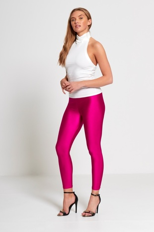 Fuchsia Shiny Disco Leggings