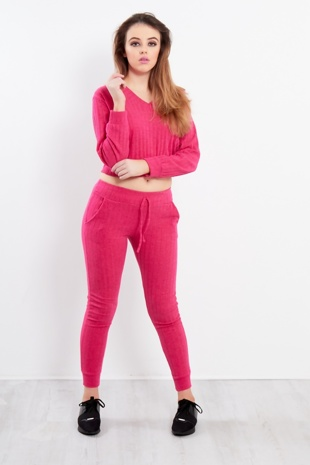 Fuschia V-Neck Cropped Loungewear