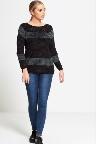 Black Glitter Crew Knitted Jumper