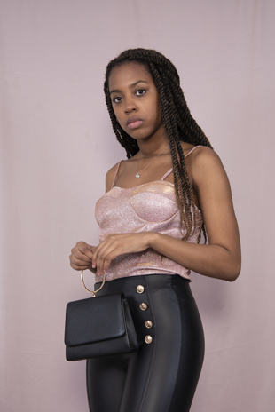 Pink Glitter Strappy Bustier Top