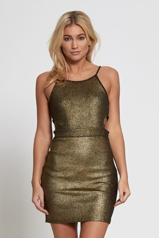 Gold Metallic Cut Out Side Bodycon Dress