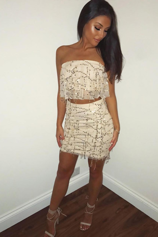 Gold Sequin Mesh Overlay Bandeau Co-Ords