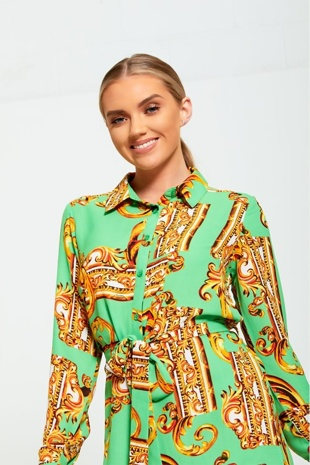 Green Baroque Button Up Dress
