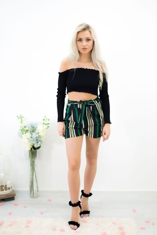 Green And Black Striped Shorts With Belt Detail