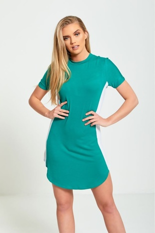 Green Bodycon White Panel Mini Dress