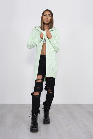 Lime Green Cable Knit Hooded Cardigan