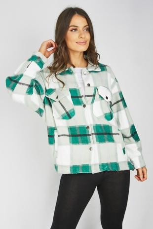 Green Checked Boxy Jacket