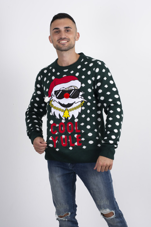 Mens green slogan knitted Christmas jumper