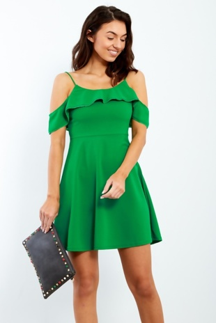 Green Cold Shoulder Lace Trim Skater Dress