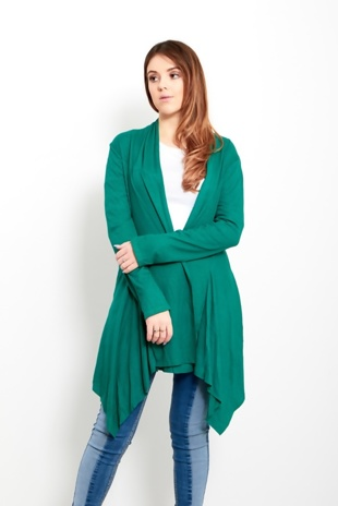 Green Ribbed Waterfall Cardigan