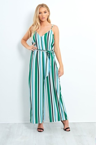 Green Striped Wide Leg Belted Jumpsuit