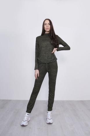 Khaki Marl Long Sleeve Basic Loungewear Set