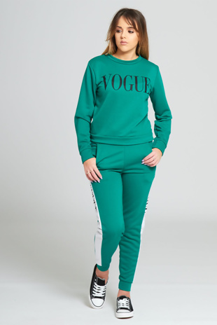 Green Vogue Print Tracksuit Set