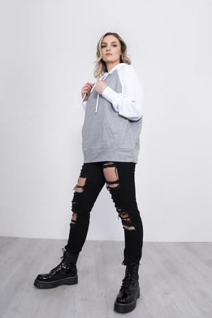 Grey Contrast Sleeve Hoodie