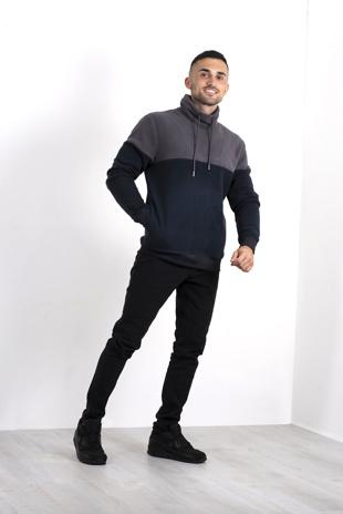 Mens Grey Contrast Pullover Fleece