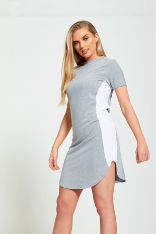 Grey Bodycon White Panel Mini Dress
