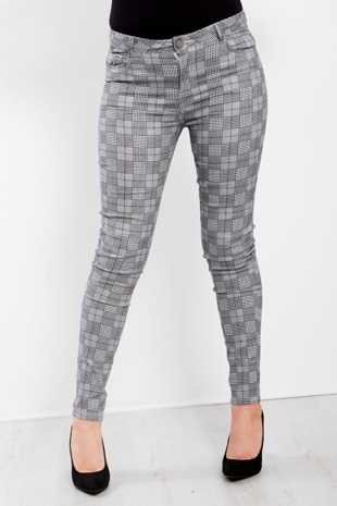 Grey Check Detail Skinny Jeans